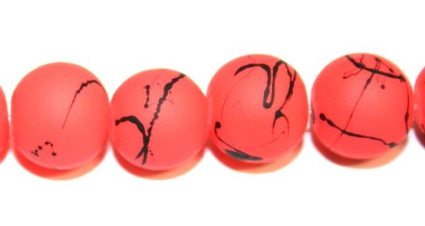 42pieces x 10mm neon orange colour rubber coated glass beads with black abstract design -- 3005008